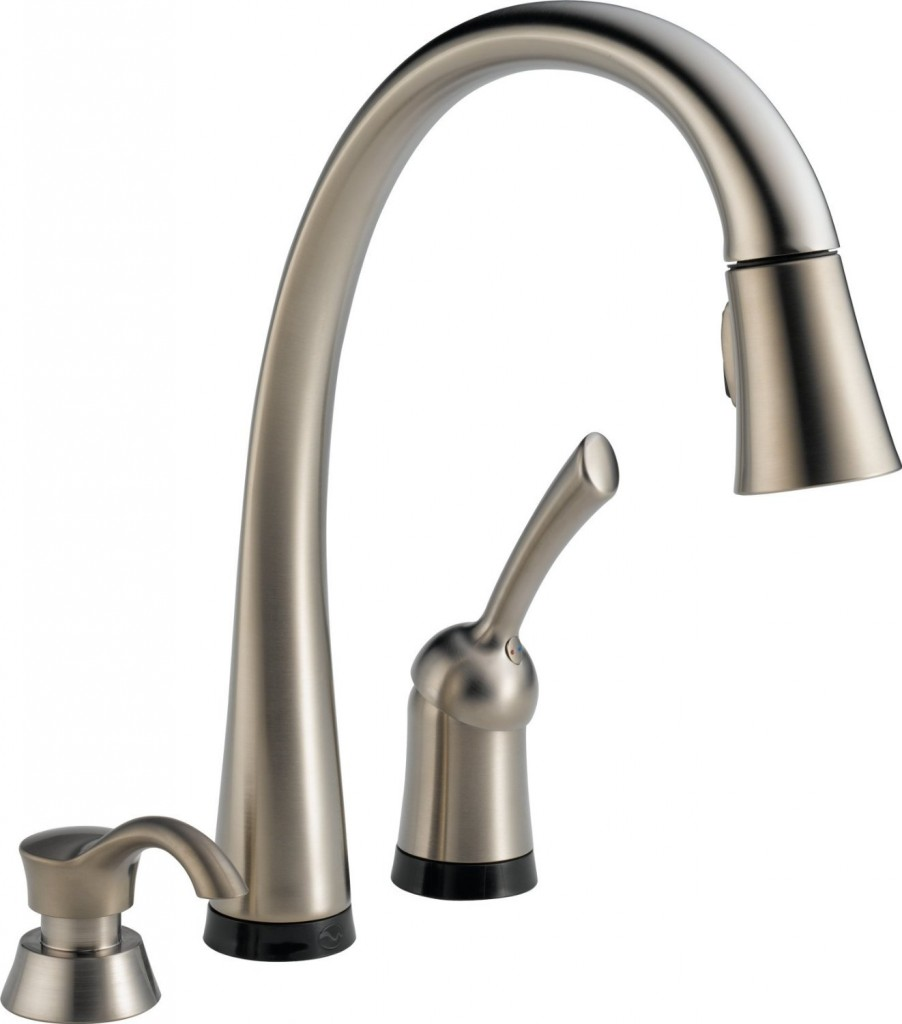 steel high stainless commercial vapsint nickel pre single down arch faucet handle with brushed spray youtube pull watch kitchen rinse